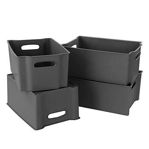 Zerdyne Set di 4 cestini portaoggetti impilabili in plastica, contenitori aperti grigi