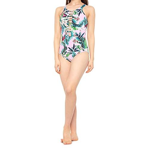 Miraclesuit Vintage Floral Leah Badeanzug mit hohem Ausschnitt, mehrfarbig - Pink - Medium