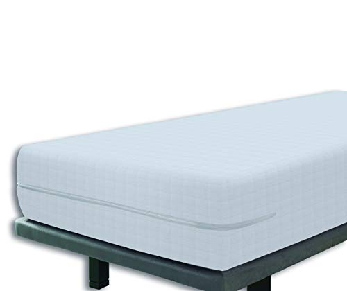 Tural – Funda de colchón elástica con Cremallera y Tejido con diseño damero. Rizo 100% Algodón. Talla 120x190/200