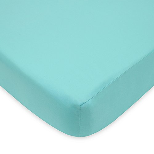 TL Care 100% Natural Cotton Percale Fitted Crib Sheet for Standard Crib and Toddler Mattresses, Aqua, 28 x 52, Soft Breathable, for Boys and Girls