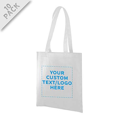 Tote Bags - Non-Woven Bag Totes - 10 pack - Customizable Text, Logo - Reusable Polyester Polypropylene Cloth Fabric - White