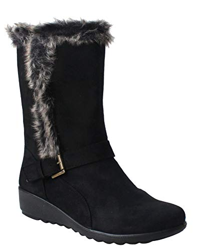 Cushion Walk Womens Ladies Lightweight Mid Calf Fur Lined Zip Up Buckle Casual Warm Winter Boots UK 4-8 (3 UK, Black)