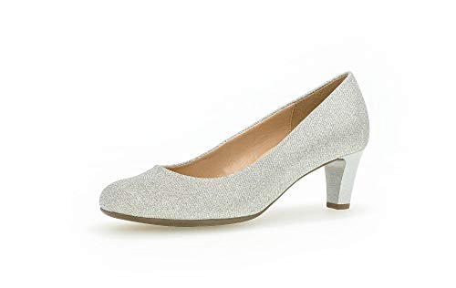 Gabor Damen Pumps, Frauen Elegante Pumps,Soft & Smart, Court-Shoe Freizeit Business sommerschuh modisch sportlich bequem,Silber,41 EU / 7.5 UK