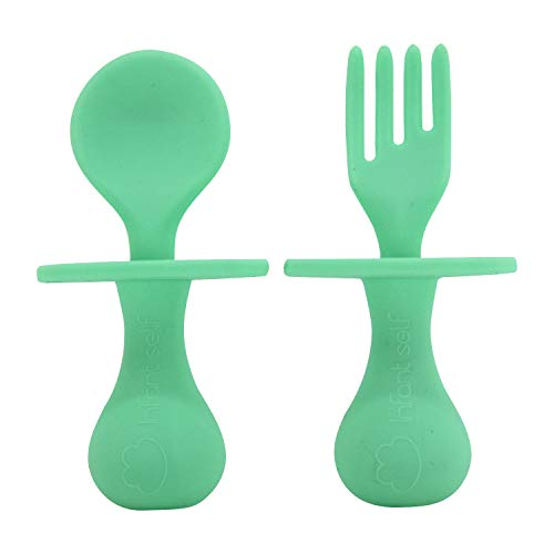 Infant Self Baby Spoon Fork Silicone Self Feeding Utensil Set Baby First Training Weaning for 6+ Month Baby Toddler BPA Free (Light Green)