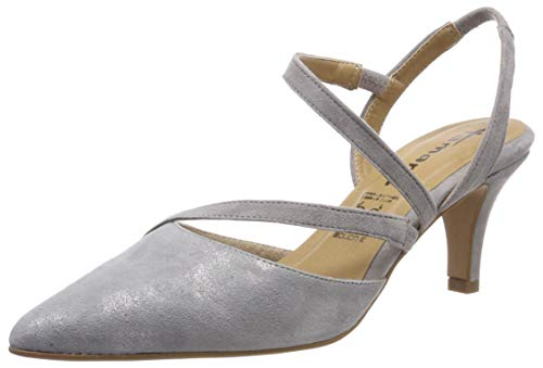 Tamaris Damen 1-1-29604-22 Slingback Pumps, Grau (Grey/Silver M. 292), 39 EU