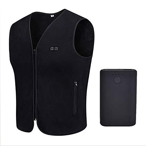 XDXDO Chaleco de calefacción eléctrico para hombre, chaleco impermeable con luz de calentamiento, recargable por USB, apto para exteriores, montañismo, caminar (fuente de alimentación incluida), XXXL