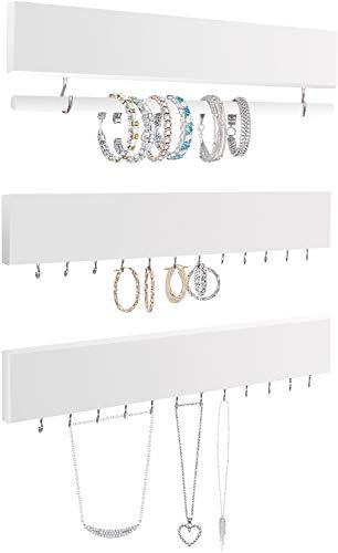 Comfify Rustic Jewelry Display Organizer for Wall - Wall Mounted Jewelry Holder Organizer con Asta Rimovibile Bracciale e 24 Ganci - Perfetto Orecchini, collane e Supporto bracciali - Bianco Puro