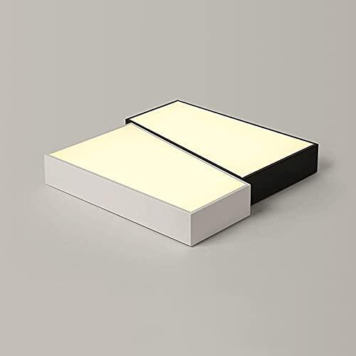 TOBOYO Diseño nórdico Minimalista geométrico Cuadrado, luz de Techo LED empotrada en Mosaico Blanco y Negro, lámpara de Tres Tonos, Adecuada para pasillos, cafeterías, oficinas, 19,7 Pulgadas