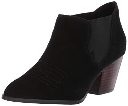 Bella Vita Women's Emilia Western-Inspired Shootie Ankle Boot, Black Suede Leather, 5 M US