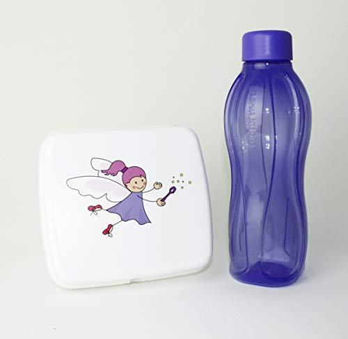 EcoEasy TUPPERWARE to Go Sandwich-Box weiß Fee Pausenbox Brotbox Schule to go Trinkflasche 310ml Helllila mit Schraubverschluss + Ersatzverschluss Lila