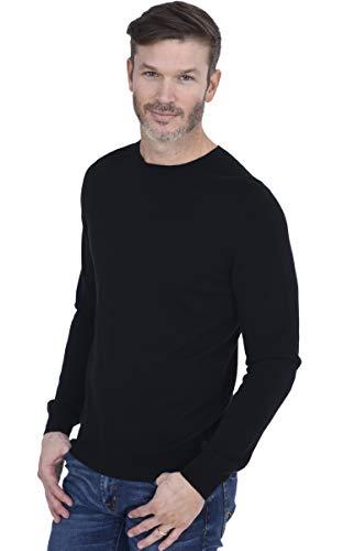 Cashmeren Men's Basic Crewneck Sweater 100% Pure Cashmere Long Sleeve Round Neck Pullover (Black, Large)