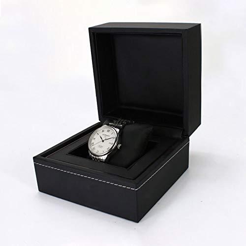 AJH Horloge Box Houder Organizer Premium Lederen horloge box sieraden display box sieraden doos (Zwart, Houdt 1 Horloge)