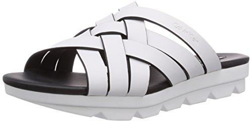 Calvin Klein Jeans Calypso Rubberized Calf, Sandalias para Mujer, Blanco-Weiß (White), 36 EU