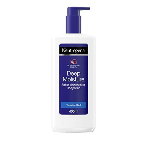 Neutrogena Deep Moisture Sofort einziehende Bodylotion, Norwegische Formel, Körpercreme, Trockene Haut, 3x 400 ml