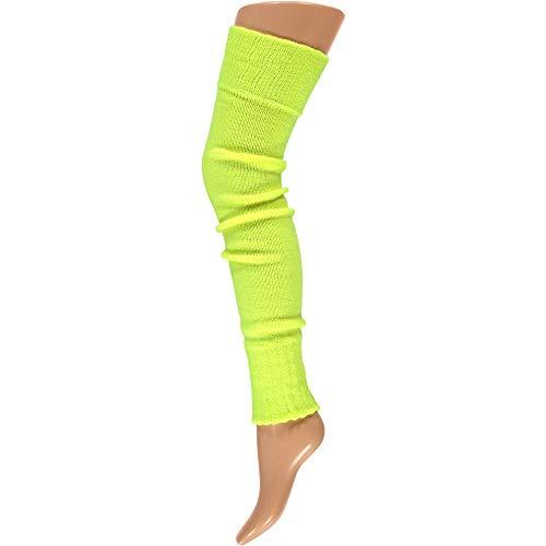 krautwear® Damen Beinwärmer Stulpen Legwarmers Overknees gestrickte Strümpfe ca. 70cm 80er Jahre 1980er Jahre (neon gelb)