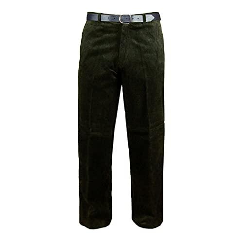 MyShoeStore, pantaloni da uomo, in velluto a coste e cotone, formali classici, casual, con tasche e cintura Olive Green 30W x 28L