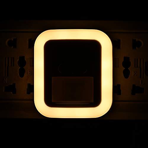 LED Steckdose Nachtlicht mit Bewegungsmelder und Dämmerungssensor Steckdosenlicht, 10 Helligkeitsstufen einstellbar, 30s / 60s / 90s / 120s Beleuchtungszeit einstellbar für Schlafzimmer Flur Treppe