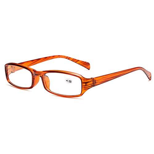 LGQ Gafas de Lectura antifatiga, Lentes de Resina de Alta definición, Montura de Gafas para PC, Gafas de Lectura Dioptrías +1,00 a +3,00,Marrón,+3.00