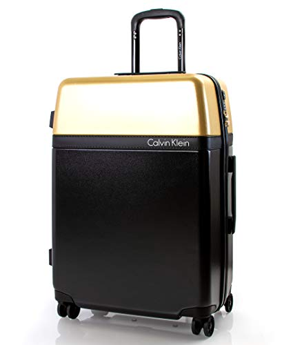 Calvin Klein Clarkson Square Hardside Spinner Luggage with TSA Lock, Black/Gold, 24 Inch