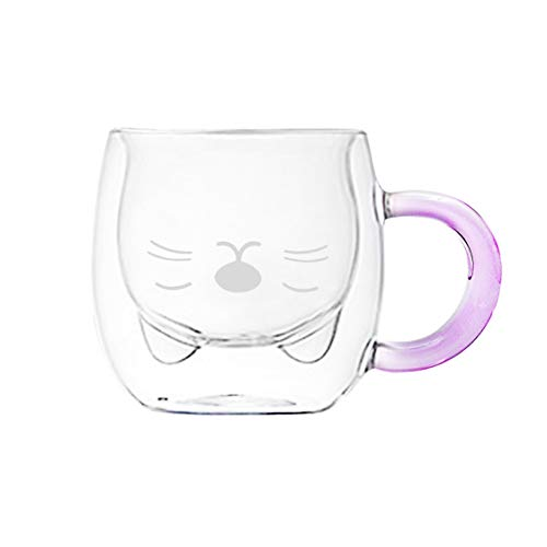 Cute Mugs Glass Double Wall Thermo Insulated Glass Espresso Cup, Coffee Cup, Tea Cup, Milk Cup, Glass Espresso Mugs, Best gift for Office and Personal Birthday (250ml/8.4oz, Cat)