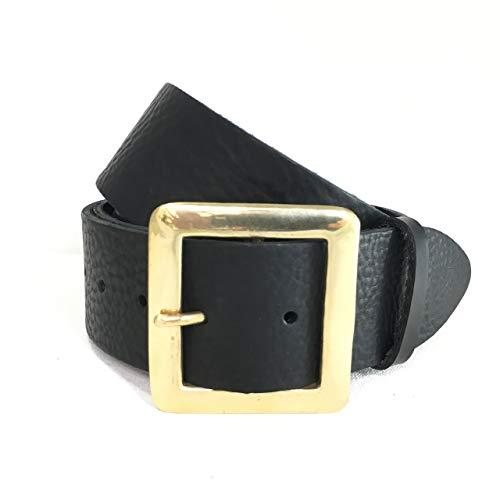 5cm Schwarzer Breiter Gürtel mit quadratischer Messing Schnalle - Italienisches Leder - Männer und Frauen - Handgefertigt in London, England - 2 Zoll ca. 5 cm - Gold Messing - Echtes Leder