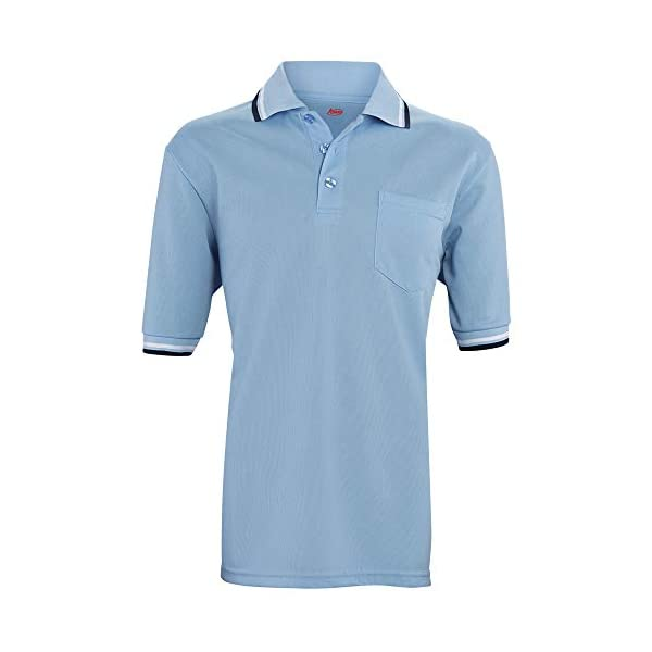 ADAMS USA Short Sleeve Baseball Umpire Shirt – Sized for Chest Protector, Powder Blue