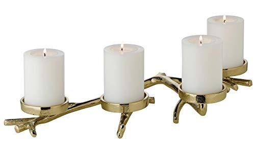 EDZARD Adventskranz Kerzenhalter Zweig, Aluminium vernickelt, goldfarben, Länge 42 cm, für Kerzen Ø 6 cm, als Adventskerzenhalter geeignet, perfekt für Cornelius Kerzen, individuell dekorierbar