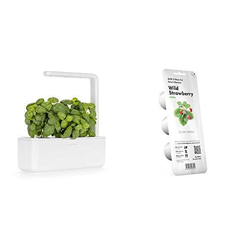 Click & Grow Smart Garden 3, bianco, 30 x 28 x 10 cm & Emsa M5260600 Click & Grow Capsula di substrato Wild Strawberry, confezione di ricarica per Smart Garden, set di 3