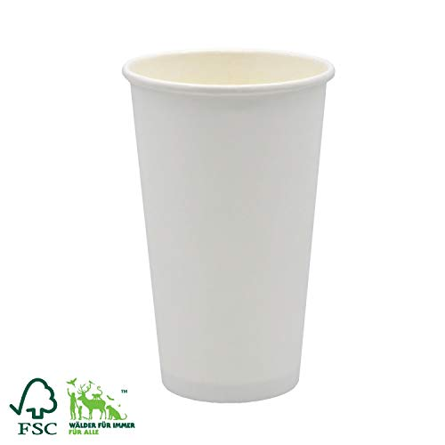 Pack&Cup Bio Kaffeebecher Pappbecher Coffee to Go Einwegbecher Plain White 500 ml (20 OZ) 50 Stück