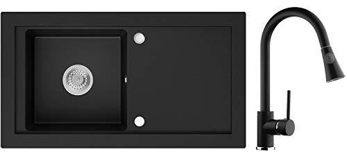 Granitspüle Schwarz 89 x 49,5 cm, Spülbecken + Küchenarmatur + Siphon, Küchenspüle ab 60er Unterschrank in 5 Farben mit Armatur Varianten, Einbauspüle von Primagran