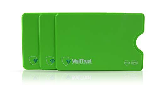 WallTrust RFID Schutzhülle für Kreditkarten, Plastik, TÜV, 3er Set, Grün