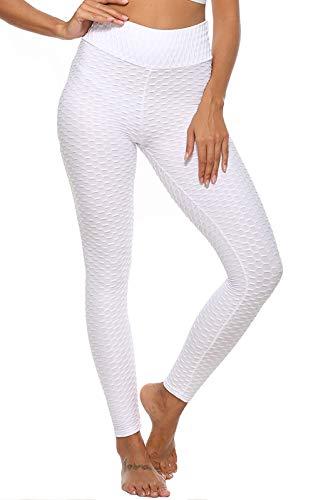 JGS1996 - Pantalones de yoga para mujer, cintura alta, control de barriga, adelgazamiento, botas, entrenamiento, correr, levantamiento de culata - Blanco - XXL