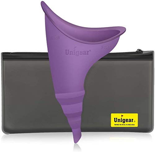 Unigear Female Urination Device, Portable Leakproof Urinal Funnel Lets Women Pee Standing Up for Travelling, Camping, Hiking, Outdoor Activities - Includes PVC Zippered Bag