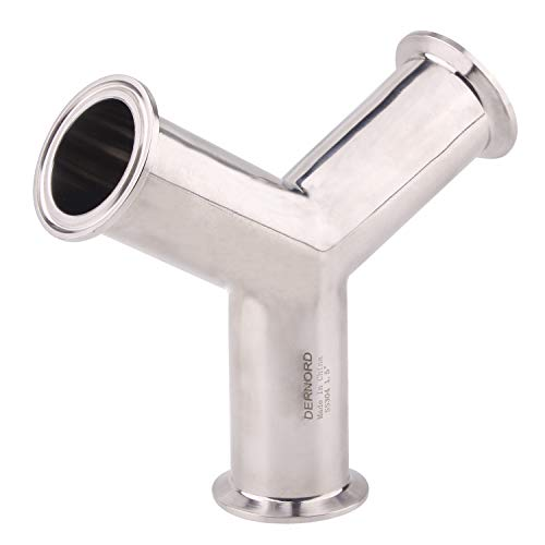 DERNORD Tri Clamp Wye Clamp End True Y Type Cross Tee Tube Stainless Steel 304 Three Way Elbow 1.5 Inch Pipe OD