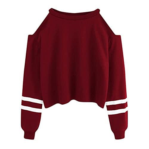 Sopiago Women's Cute Stripe Crop Sweatshirt Teen Girls Fashion Turn-Down Collar Long Sleeve Cropped Pullover Tops