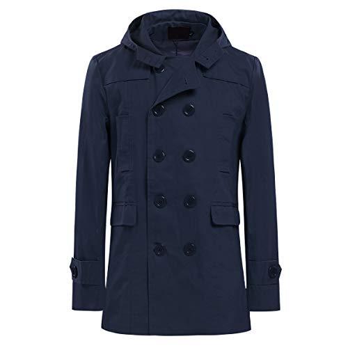 AoWOFS Mannen Trenchcoat met capuchon kort Regular Fit mantel jas voor zomer herfst