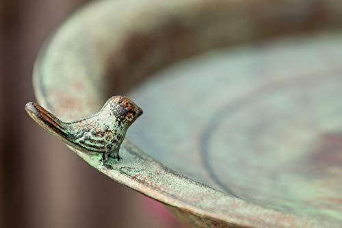 Amelex 67 Abreuvoir à Oiseaux avec Support, métal d'aspect Antique élégamment incurvé, à Patine Verte sur Un Ton Marron Chaud