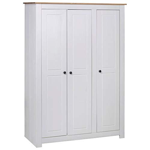 vidaXL Panama-Kiefer Kleiderschrank Weiß 3-Türig Dielenschrank Garderobenschrank Schlafzimmerschrank Schrank Holzschrank 118x50x171,5cm