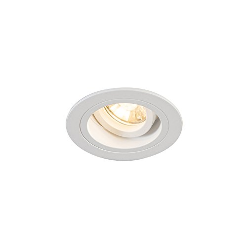QAZQA Modern Einbaustrahler rund weiß dreh- und neigbar - Chuck/Innenbeleuchtung/Wohnzimmerlampe/Schlafzimmer/Küche Stahl Rund LED geeignet GU10 Max. 1 x 49 Watt