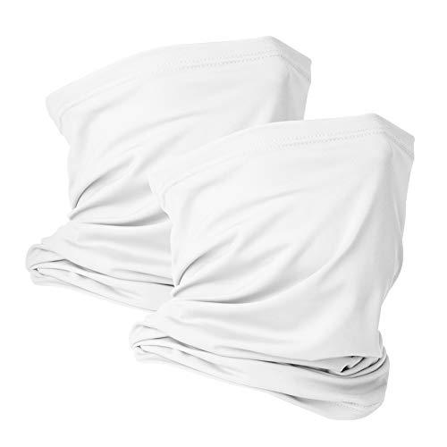 2 Pack Neck Gaiter Face Mask Scarf Reusable Bandanas Tube UV Protection Headwear Balaclava Outdoor Sport for Men and Women White