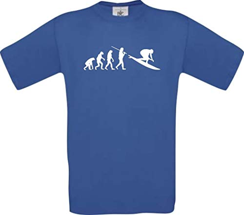 Shirtinstyle T-Shirt Evolution Surfeur Surf Sport Aquatique Surf Fun Shirt Plusieurs Couleurs T-Shirt Culte S-XXL - Royal, XXL
