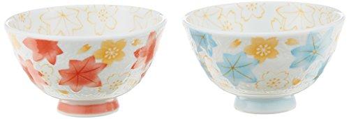 [Lot de 2] Ichida de Hiromi Porcelaine Bol à riz/japonais Nishiki Cloud Pattern Bleu et Rouge Hr-712