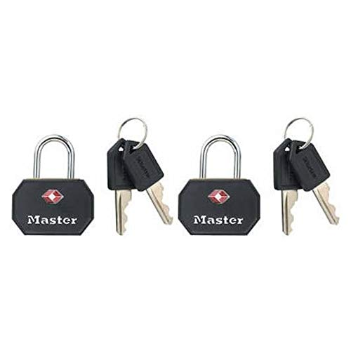 Master Lock 4681TBLK TSA Approved Luggage Lock with Key, 2 Pack, Black