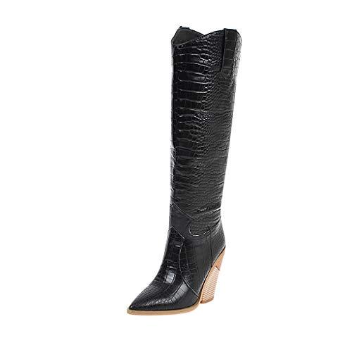 Luckycat Botas para Mujer Zapatillas de Moda Botas Altas Cavalier Flexible Mujer Codones de Saten Talón Tacón Ancho Alto 3.5 CM - Plantilla Forrada de Piel