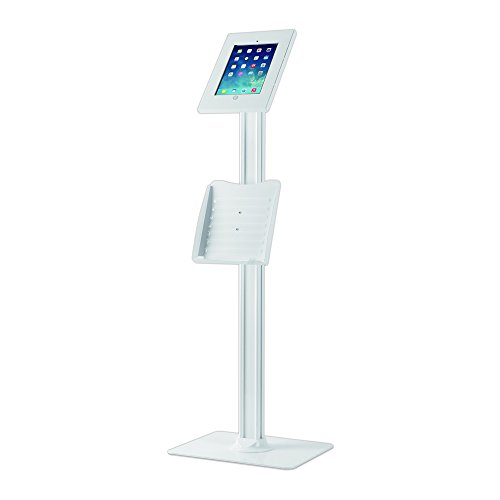 Anti-Theft Adjustable Tablet Security Stand - Heavy Duty Aluminum Metal Floor Standing Kiosk Mount Tablet Case Holder Display w/ 42.75 Inch Pole, For iPad 2 3 4 Air Air2 Tablets - Pyle PMKSPADLK48