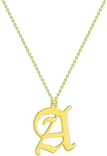 Aluyouqi Co.,ltd Collar Collar con Letras para Parejas Hombres Mujeres Nombre Inicial Joyería De Acero Oro Rosa Oro Étnico Collares De Amistad Regalo