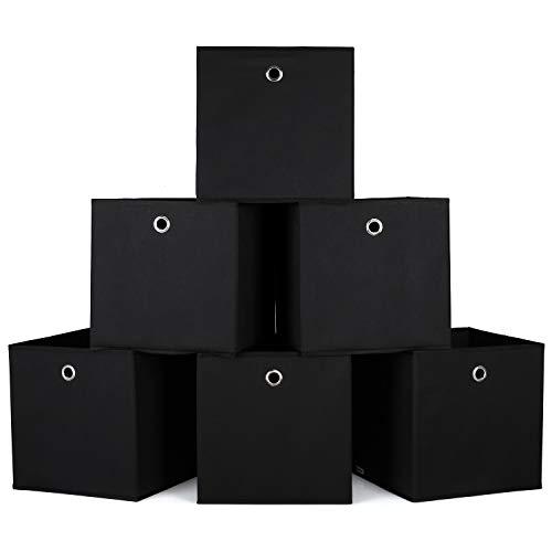 Homfa 6er Aufbewahrungsbox Stoff Set Faltbox Aufbewahrungskorb Regalbox Regalkörbe Ordnungsbox Stoffbox Kiste Aufbewahrung für Kallax 30x30x30cm schwarz