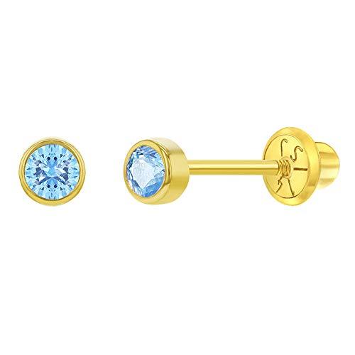 In Season Jewelry Orecchini a monachella da bambina in oro giallo 14 carati (585), con chiusura a vite, misura ideale per neonati e bambini con fori per le orecchie e Oro giallo, cod. YG-03-00147-EU