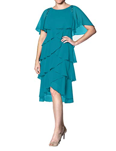 Abendkleid Kurz A-Linie Cocktailkleid Ballkleid Chiffon Übergröße Brautmutterkleider Festkleider mit Ärmel Jade 58