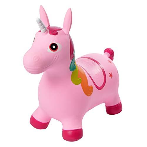 Pink Papaya Animales de Juguete Unicornio Sandy - Caballos para Niños Mayores de 3 Años hasta 50 kg - Animal Inflable para Niños sin BPA - Incluye Bomba de Aire